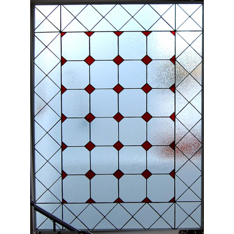 """Vidriera geométrica """"Cuadritos rojos"""""""