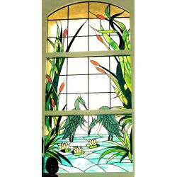 Vidriera ventana garzas 01