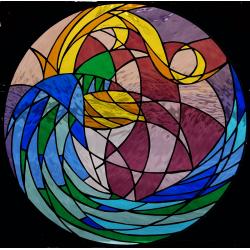 Vidriera Ojos de buey abstracto 01