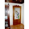 Vidriera puerta floral con colibrí 01