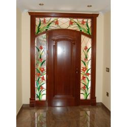 """Vidriera puerta exterior """"Guirnaldas naranjas"""""""