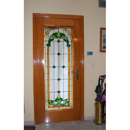 Vidriera puerta victoriana flores lis