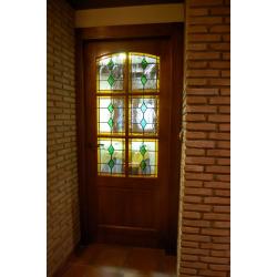 Vidriera puerta geométrica rombos azules