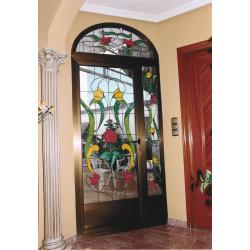 Vidriera puerta trrraza floral