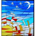 """Vidriera abstracta """"Sol y luna"""""""