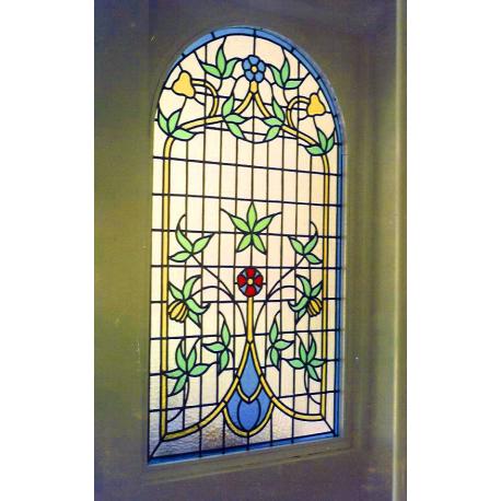 Vidriera floral casa