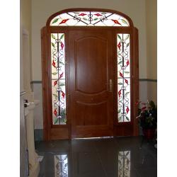 Vidriera puerta exterior fijos florales