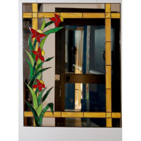 Espejo tiffany flores rojas