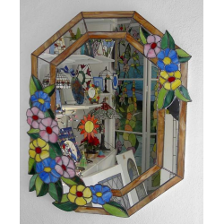Espejo tiffany flores variadas