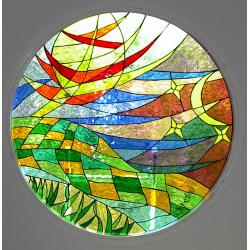 Vidriera ojo de buey abstracta 02
