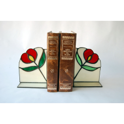 Sujeta libros Flor roja