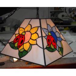 """Lámpara Tiffany de techo """"Mariquitas"""""""